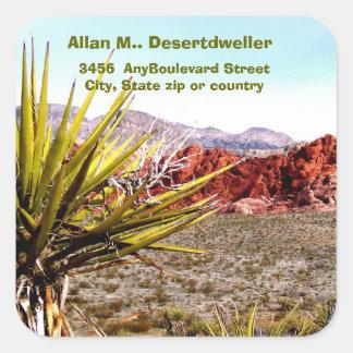 Remite de los cactus del paisaje del desierto pegatina cuadrada