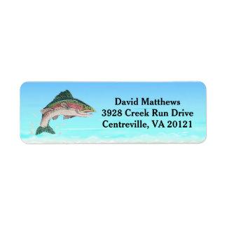 Remite de los pescados de la trucha de color etiquetas de remite