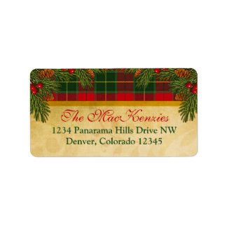 Remite de Navidad de la tela escocesa tradicional  Etiqueta De Dirección