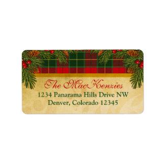 Remite de Navidad de la tela escocesa tradicional  Etiquetas De Dirección