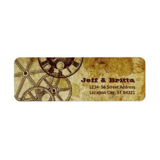 Remite de Steampunk del Victorian (engranajes) Etiquetas De Remite