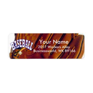 Remite del aficionado al béisbol etiqueta de remitente