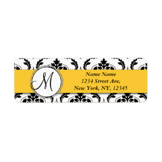 Remite del amarillo blanco negro del damasco etiqueta de remite