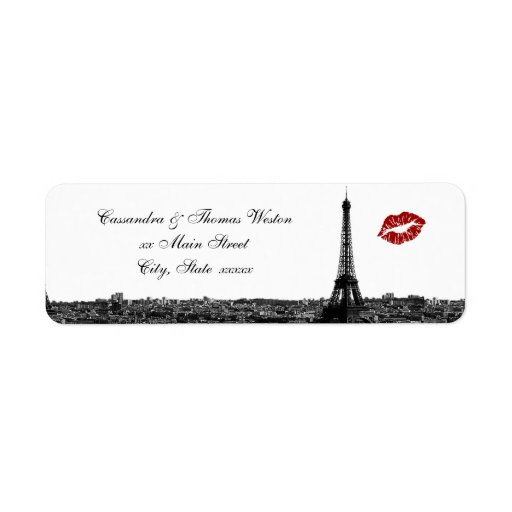 Remite del beso #1 BW H del horizonte de París Etiquetas De Remite