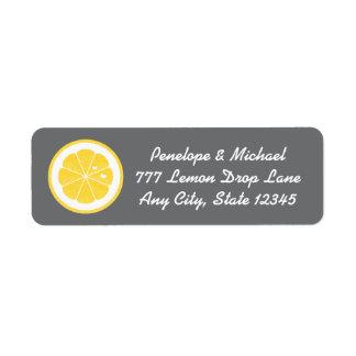 Remite del corazón amarillo y gris del limón etiqueta de remite