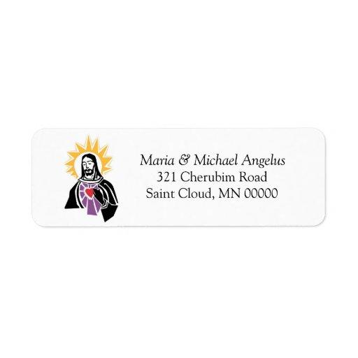Remite del corazón sagrado religioso del boda etiquetas de remite