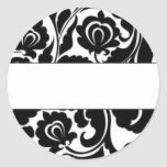 Remite del damasco negro etiqueta redonda