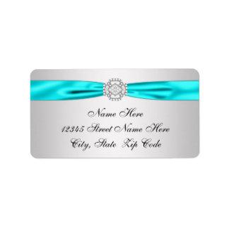Remite del diamante de plata azul del trullo etiquetas de dirección
