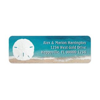 Remite del dólar de arena del océano de la etiquetas de remite