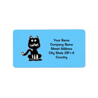 Remite del gato divertido etiquetas de dirección