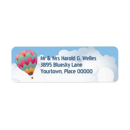 Remite del globo del aire caliente etiquetas de remite