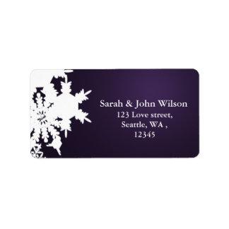 remite del invierno del copo de nieve púrpura del  etiquetas de dirección
