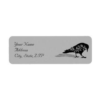 Remite del marco gótico negro del cuervo etiqueta de remite