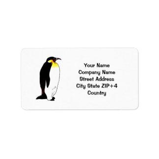 Remite del pingüino de emperador etiqueta de dirección