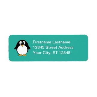 Remite del pingüino etiqueta de remite