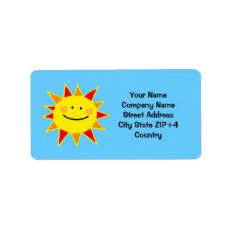 Remite del sol amarillo etiquetas de dirección