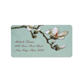 Remite del trullo y de la magnolia blanca etiqueta de dirección