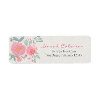 Remite floral de la acuarela pintada a mano etiquetas de remite