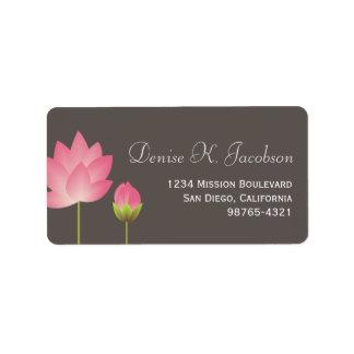 Remite gris de loto del flor rosado de la flor etiquetas de dirección