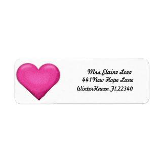 Remite Lables del corazón rosado Etiquetas De Remite