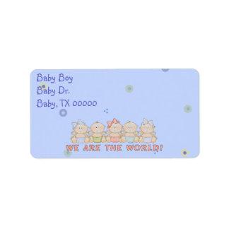 ¡Remite lindo del azul de bebés o etiquetas del Etiqueta De Dirección