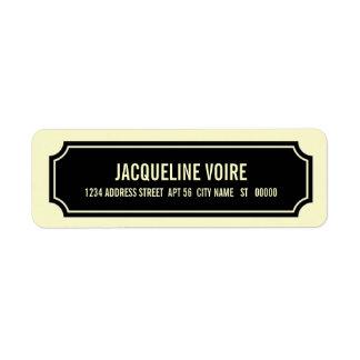 Remite personalizado de la buhardilla, negro, etiqueta de remitente