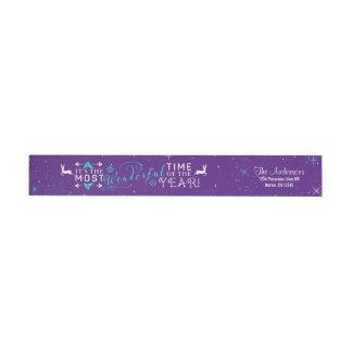 Remite púrpura del navidad maravilloso del tiempo etiquetas para remite