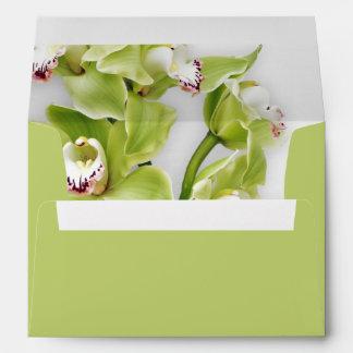 Remite que se casa floral A-7 de la orquídea verde Sobres