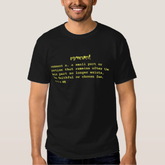 remnant, remnant n. a small part or portion tha... t shirt