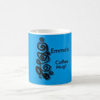Remolina el gráfico con nombre azul brillante del taza