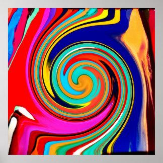 Remolino abstracto colorido vibrante de creyones d poster