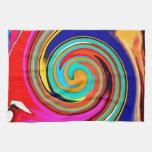 Remolino abstracto colorido vibrante de creyones d toallas de cocina