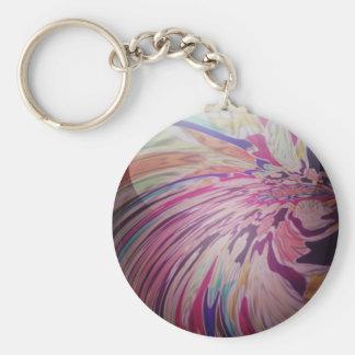 Remolino abstracto, colorido y mármol brillante de llavero redondo tipo pin