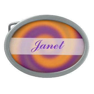 Remolino abstracto púrpura anaranjado maravilloso hebilla de cinturon oval