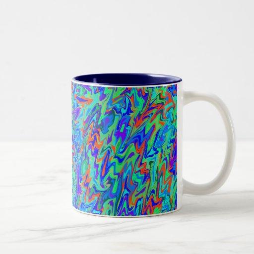 Remolino abstracto taza de café de dos colores