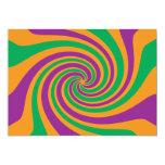 Remolino anaranjado verde púrpura invitación 12,7 x 17,8 cm