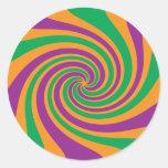 Remolino anaranjado verde púrpura pegatina redonda