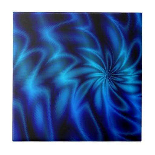 Remolino azul azulejo cuadrado pequeño