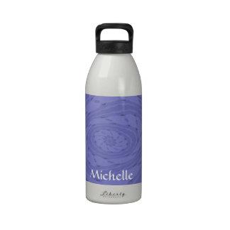 Remolino azul de la flor botella de agua reutilizable