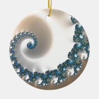 Remolino azul de la gema adorno navideño redondo de cerámica