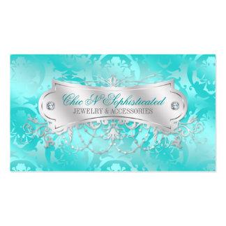 Remolino azul del damasco del trullo elegante tarjetas de visita