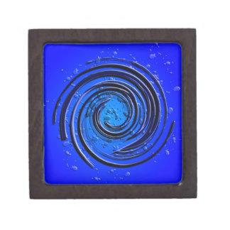 Remolino azul del huracán cajas de joyas de calidad