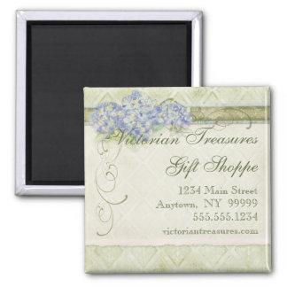 Remolino azul floral de las flores del Hydrangea d Imán Cuadrado