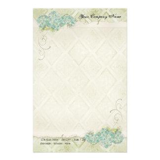 Remolino azul floral de las flores del Hydrangea d Papelería Personalizada