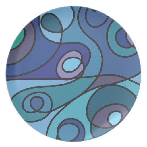 Remolino azul plato para fiesta