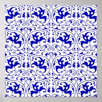 Remolino azul y blanco del vintage póster