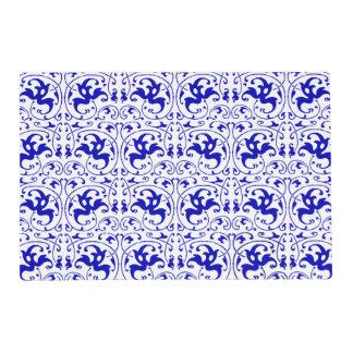 Remolino azul y blanco del vintage tapete individual