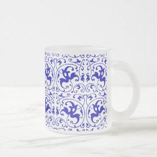 Remolino azul y blanco del vintage taza de cristal