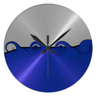 Remolino azul y de plata del metal del acero inoxi relojes de pared