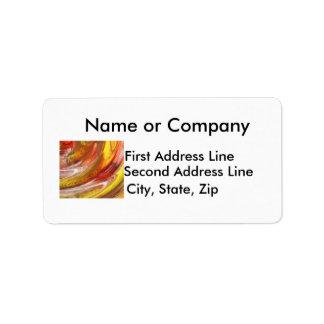 Remolino blanco amarillo-naranja del extracto de l etiquetas de dirección